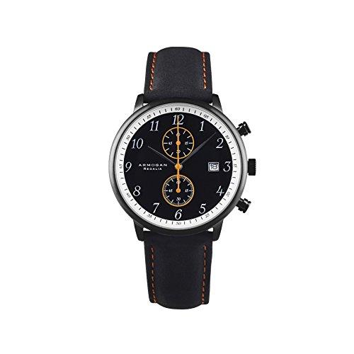 Armogan Regalia - Midnight Black S24 - Men's Chronograph Watch Suede Leather Strap
