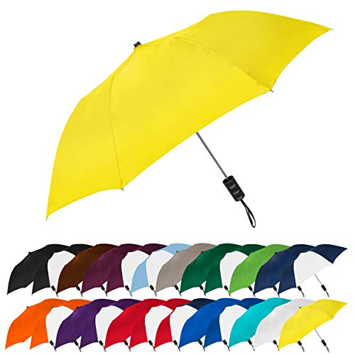 STROMBERGBRAND UMBRELLAS Spectrum Popular Style 15' Automatic Open Umbrella Light Weight Travel Folding Umbrella for Men and Women, (Yellow)