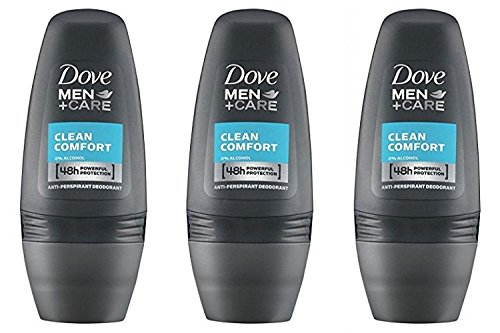 Dove Men Clean Comfort Anti-perspirant Deodorant Roll-on 50ml (1.7 Fluid Ounce). (Pack of 3)