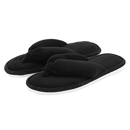 Indoor Thong Slippers for Women Open Toe Slide On, Soft Cute Non Slip House Slippers (M- US Women Size 7-8, Black)