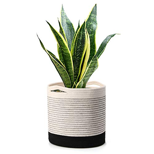 Tvird Sturdy Cotton Rope Plant Basket,11'x 11'Modern Woven Plant Pot for 10' Flower Pot & Indoor Planters,Storage Organizer Basket Rustic Home Decor with Black and White Stripes