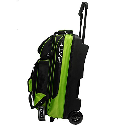 Pyramid Path Triple Premium Deluxe Roller with 5 Accessory Pockets Bowling Bag (Black/Lime Green)