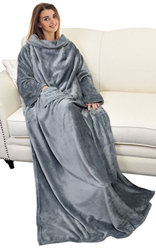 "Catalonia Wearable Blanket with Sleeves and Pocket, Soft Fleece Mink Micro Plush Wrap Throws Blanket Robe for Women and Men 73"" x 51"""