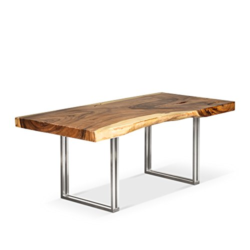 Artemano Maria Suar Wood Table with Stainless Steel Legs, Natural