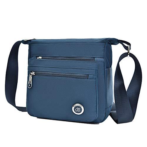 Fabuxry Casual Nylon Zipper Single Adjustable Strap Shoulder Bags Messenger Crossbody Handbags(Navy)