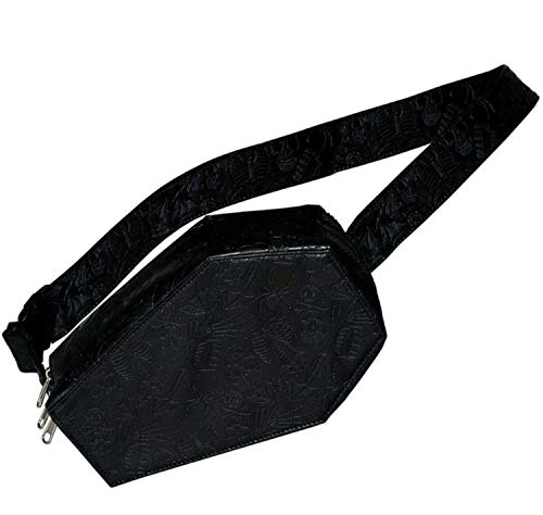 Kreepsville 666 Coffin Hip Pouch! Vegan Leather Fanny Pack! Design With Spooky Embossed Graphics! Black Leather Waist Bag!