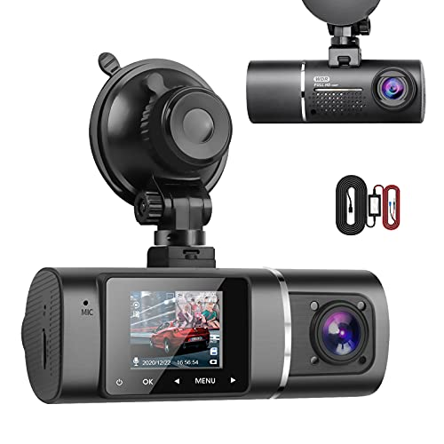 Dual Dash Cam Hardwire Kit Included FHD 1080p+1080p Front Inside Cabin Car Camera Driving Recorder with Infrared Night Vision WDR G-Sensor Parking Monitor Loop Recording for Taxi Rideshare