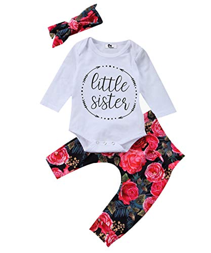 Baby Girls Little Sister Bodysuit Tops Floral Pants Bowknot Headband Outfits Set (0-6 Months, Style 1)