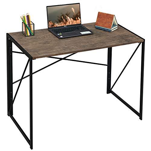 Writing Computer Desk 39' Modern Simple Study Desk Industrial Style Folding Laptop Table for Home Office Notebook Desk Brown Desktop Black Frame