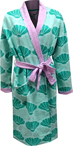 Disney Women's Little Mermaid Princess Ariel Seashells Cotton Robe (Small/Medium) Green