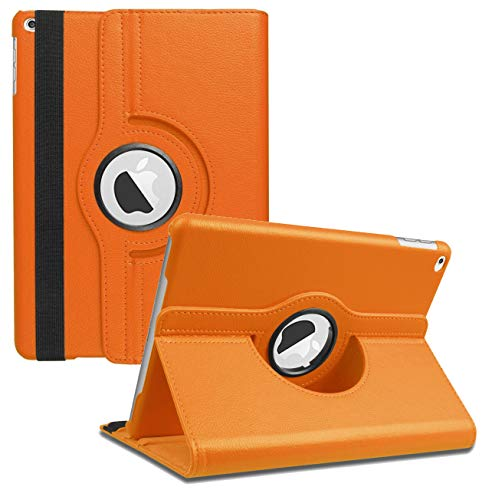 New iPad 2017 9.7' / iPad Air 2 Leather Case,360 Degree Rotating Stand Smart Cover with Auto Sleep Wake for Apple iPad Air or New iPad 9.7 Inch 2017 Tablet (Orange)