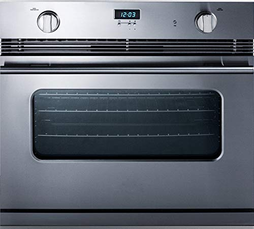 Summit Appliance SGWO30SS 30' Wide Stainless Steel Gas Wall Oven with Electronic Ignition and Digital Clock/Timer, Professional Handle, Oven Window and Light, Thermocouple Flame Failure Protection