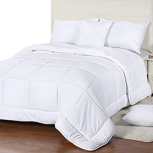 Utopia Bedding All Season Down Alternative Quilted Comforter Queen - Queen Duvet Insert with Corner Tabs - Machine Washable - Duvet Insert Stand Alone Comforter - Queen/Full - White