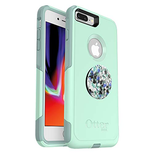 Bundle: OtterBox COMMUTER SERIES Case for iPhone 8 PLUS & iPhone 7 PLUS (ONLY) – (OCEAN WAY) + PopSockets PopGrip – (SERPENTINE GRANITE)