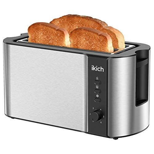 IKICH Toaster 2 Long Slot, Toaster 4 Slice Stainless Steel, Warming Rack, 6 Browning Settings, Defrost/Reheat/Cancel, Removable Crumb Tray, 1300W