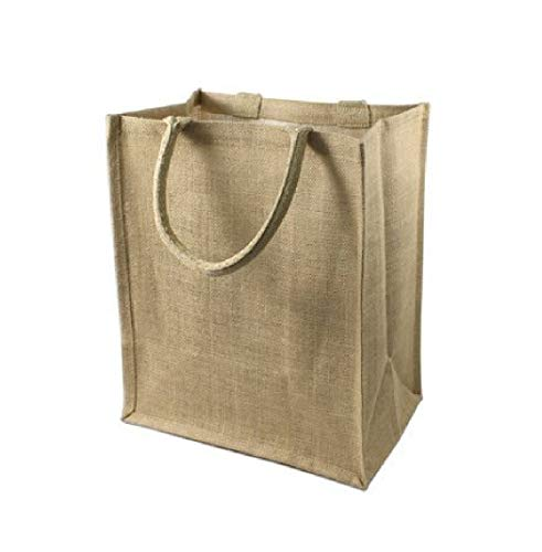 Wine Bag Store, Jute Burlap Six Bottle Wine Gift Tote Bags, Size 8' x 12' x 14' by SHOPINUSA