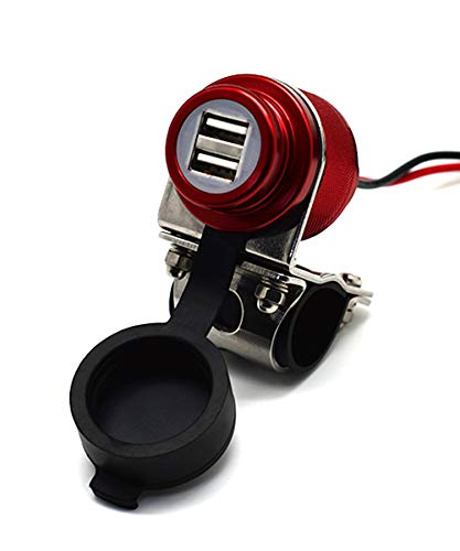 Cliff Top 4.6 Amp 23W Aluminium Motorcycle USB Charger with Dual-Port Fast Charing, Heavy Duty, Waterproof for 7/8'', 1'' Handlebars on ATV/UTV for Smart Phones, GPS, Tablets and Cameras ( Maroon)