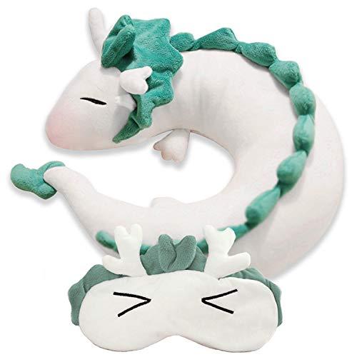 Tikambe Spirited Away Haku Dragon Neck U Pillow, Japanese Anime Stuffed Animal Body Travel Pillow, Sleeping Eye Mask