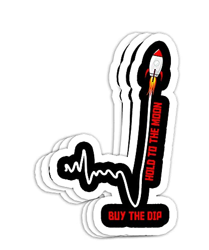 GME Stock AMC Hold to The Moon Buy The Dip Stock Market Gift Decorations - 4x3 Vinyl Stickers, Laptop Decal, Water Bottle Sticker (Set of 3)