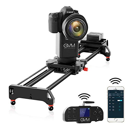 GVM Camera Slider, 31' 2-Axis Carbon Fiber Motorized Slider Track Dolly Rail with APP Control and Wireless Controller, 360 Degree Panoramic Shooting and Time-Lapse Photography for Most DSLR Cameras