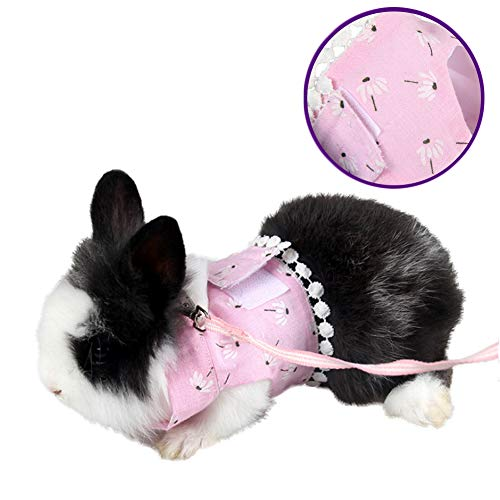 Yu-Xiang Hamster Flower Harness with Leash Groundhog Dress Guinea Pig Accessories Pet Halloween Costume Cosplay Cloth Walking for Small Animal (Pink)