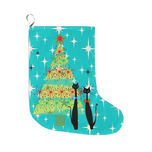 onepicebest Christmas Stocking Retro Atomic Era Mid Century Modern Christmas Cats Christmas Stocking for Family Holiday Xmas Party Decorations