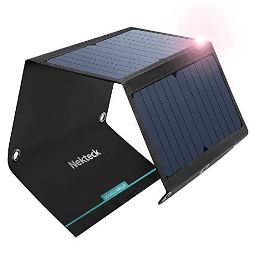 Nekteck 21W Solar Charger(5V/3A Max) with 2 USB Port, IPX4 Waterproof Portable and Foldable Hiking Camping Gear SunPower USB Solar Panel Compatible with iPhone, iPad, MacBook Samsung Galaxy, and More