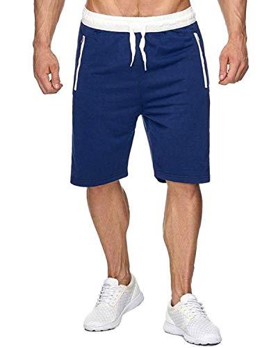 Voncheer Mens Elastic Waist Drawstring Summer Workout Shorts with Zipper Pockets (2XL, Blue with Back Pocket)