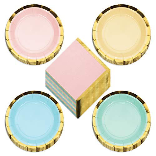 Deluxe Gold Trimmed Pastel Rainbow Scalloped Paper Dessert Plates and Beverage Napkins (Serves 16)