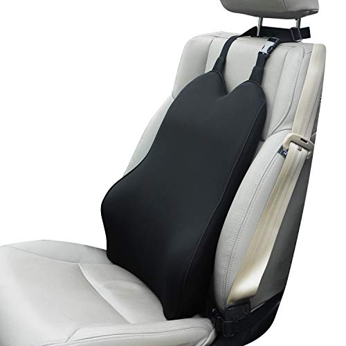Dreamer Car Lumbar Support for Car Seat Driver- Supportive and Comfortable Memory Foam Back Cushion Back Support for Car for Lumbar/Back Pain Relief - Black