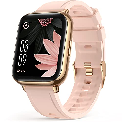 Smart Watch for Women, AGPTEK 1.69'(43mm) Smartwatch for Android and iOS Phones IP68 Waterproof Fitness Tracker Watch Heart Rate Monitor Pedometer Sleep Monitor for Women Pink