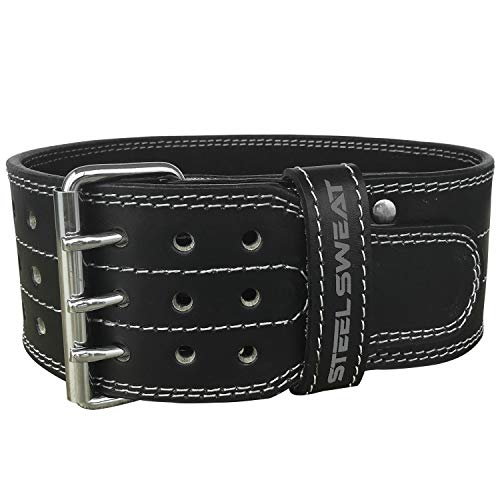 Steel Sweat Powerlifting Belt for Weight Lifting - 4' Wide - Triple Prong - Heavy Duty Adjustable Weightlifting Belt, Leather - Claw Black Medium