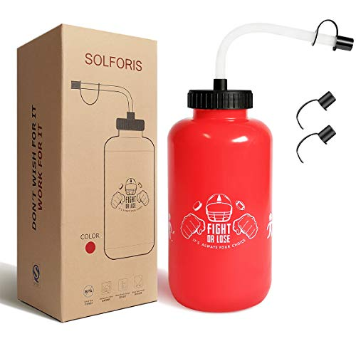 SolForis Hockey Water Bottles with Long Straw, Fit for Football Lacrosse Gym Sport, Plastic Squeezable Leakproof BPA Free, No Strange Smell, Easy to Clean, 1 Liter 32 oz (3 Straw Caps) (red)