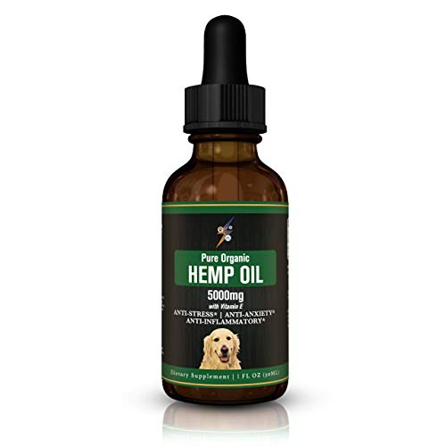 Pawsitive Labs – Best Hemp Oil for Dogs & Cats 5000mg – Anti-Separation Anxiety, Joint Pain, Stress Relief, Arthritis, Seizures, Chronic Pain Relief, Anti-Inflammatory – Omega 3, 6, 9 – 100% Organic