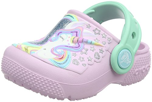 Crocs Girls Kids' Unicorn Clog, Ballerina Pink/New Mint, 9 Toddler