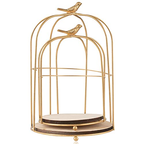 LONGBLE 2 Pcs Round Wedding Birdcages Gift Card Holder Decorative Gold Metal Hollow Bird Cage Laterns Candelabra Table Centerpieces for Party Home Garden Decorations