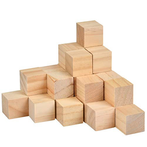 OFNMY 20pcs 2 inch Wooden Cubes Unfinished Wood Blocks for Wood Crafts, Wooden Cubes, Wood Square Blocks, Great for Baby Showers, Puzzle Making, Crafts, and DIY Projects