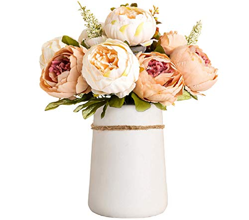 Queen BEE Artificial Flowers in VASE. 14' Silk Peony Fake Flowers Arrangements in Ceramic VASE Included for Dining Table Centerpieces Decoration. Table Home Office Wedding (Champagne)