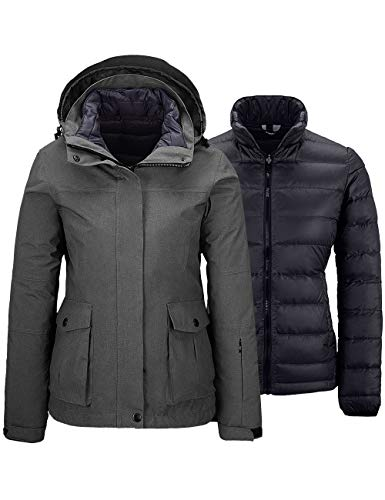 Wantdo Women's 3 in 1 Waterproof Down Lined Parka Windproof Snow Jacket Grey XL