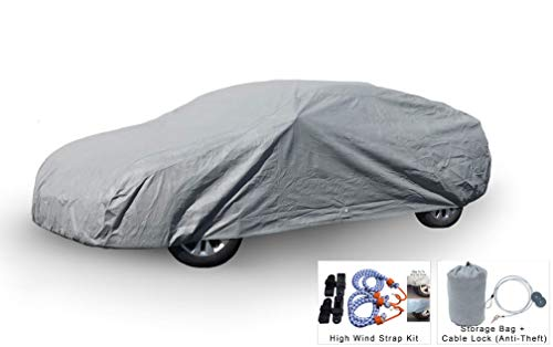 Weatherproof Car Cover Compatible with 2017-2019 Hyundai Ioniq Electric/ Hybird/ Plug-in - Comparable to 5 Layer Cover Outdoor & Indoor - Rain, Snow, Hail, Sun - Theft Cable Lock, Bag & Wind Straps