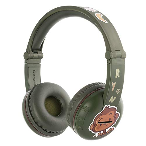 BuddyPhones Play, Wireless Bluetooth Volume-Limiting Kids Headphones, 18-Hour Battery Life, 4 Volume Settings, Includes BuddyCable for Sharing, Green