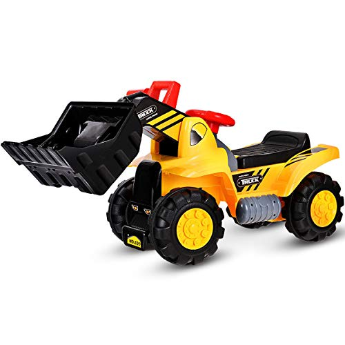 Costzon Kids Ride On Construction Bulldozer, Outdoor Digger Scooper Pulling Cart W/Front Loader Digger Horn Underneath Storage, Children Pretend Play Truck Toy (Yellow)