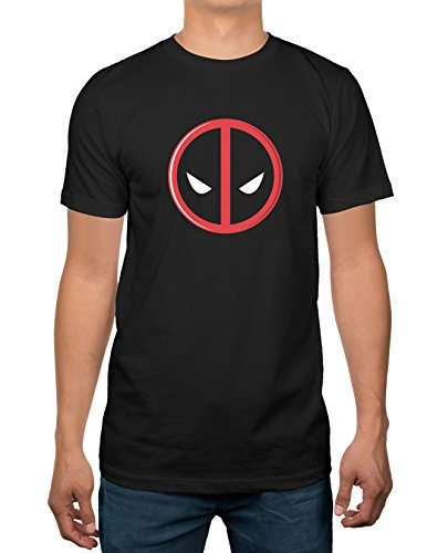Marvel Deadpool Logo Mens Black T-Shirt (Medium)