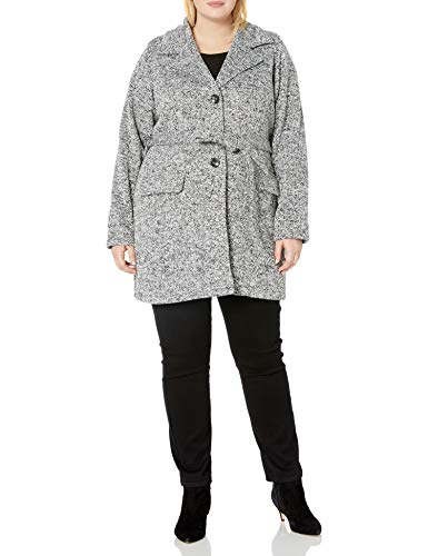 Steve Madden Women's Fashion Coat, Classic Sweater Fleece Light Gray Heather, L