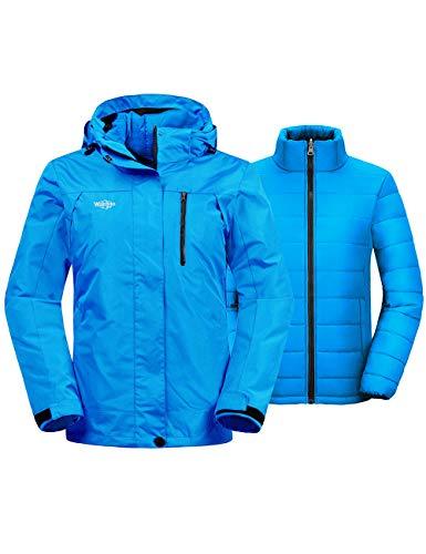Wantdo Women's 3-in-1 Ski Jacket Hooded Winter Puffer Coat Mountain Snow Parka Blue XL