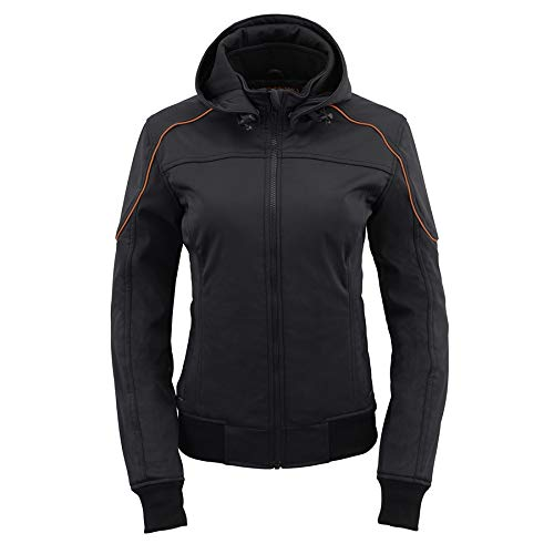 Milwaukee Leather MPL2764 Women's Soft Shell Armored Racing Style Jacket with Hoodie - 2X-Large