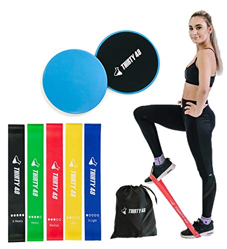 Thirty48 Gliding Discs Core Sliders and 5 Exercise Resistance Bands | Strength, Stability, and Crossfit Training for Home, Gym, Travel | User Guide & Carry Bag (Resistance Bands + Core Slider(Blue))