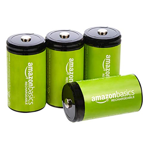 Amazon Basics 4-Pack D Cell Rechargeable Batteries, 10000mAh Ni-MH, Pre-charged