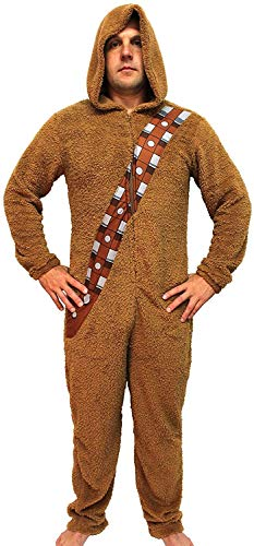 Star Wars Chewbacca Wookiee Adult Hooded Costume Union Suit (Medium) Brown