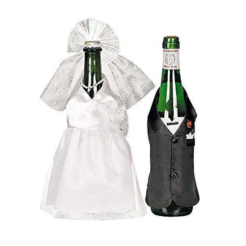 Wedding Dress Wine Bottle Covers, Bride and Groom Outfits